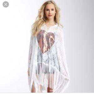 Wildfox white label sequin heart lace poncho
